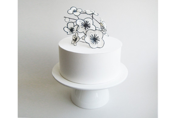 Navy & White Flower Topper